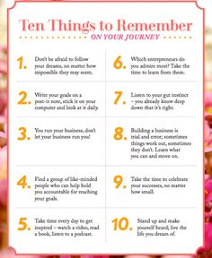 10 things to remember on your #entrepreneurial journey. #franchise