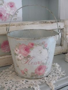 Vintage Roses Fleurs Bucket available at http://www.debicoules.com/item_547/Vintage-Roses-Fleurs-Bucket.htm#