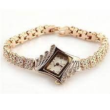 Baakyeek Réveil Plaqué or poignet Montres man-nade Montres diamant élégant Rhombus femmes de filles Mesdames Quartz Montre
