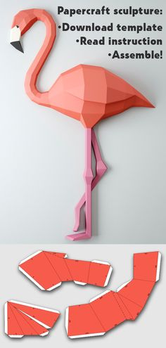 Papercraft template flamingo, make your own low poly 3D sculpture from paper!