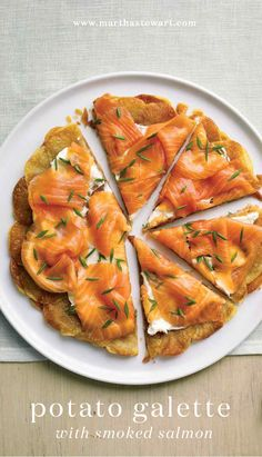 Smoked salmon adds just the right amount of saltiness to layers of golden spuds. Thinly sliced potatoes in concentric circles make a pretty galette. This one has a cool, fluffy spread that pairs perfectly with smoked salmon.