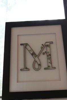 Quilled Paper Art- Inital M in light green, dark and light brown