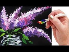 LILACS Cotton Swabs Painting Technique for BEGINNERS EASY Acrylic Painting - YouTube