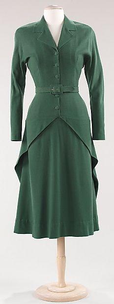 Elegant green dress with matching jacket, Balenciaga, 1947. Great design idea!