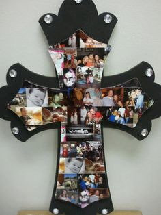 Family Collage Wooden Cross.