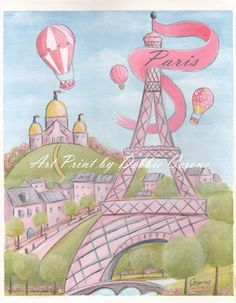 New!  Pink Eiffel Tower Paris Print for the Paris themed girl's room. This print says 'Paris' on flag and can be purchased alone or as a set of 3 or 4. Paris Print collection includes a Patisserie, Flower Shop, Fruit Market & More! The Eiffel Tower print can also be ordered 'personalized' with girl's name on flag or no wording at all.