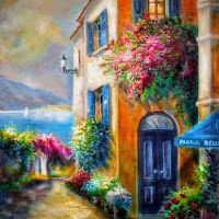 Gina Femrite-Flower Shop By The Sea Painting Belle Image Nature, Painting & Drawing, Watercolor Paintings, Art Paintings, Ouvrages D'art, Mail Art, Beautiful Paintings, Painting Inspiration, Amazing Art