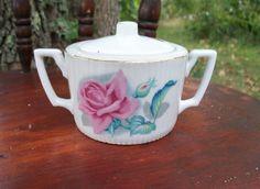 Vintage Hand Painted Rose Porcelain Lidded Sugar by EmmasHeritage