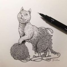 Creative artist Kerby Rosanes, an illustrator based in Manila, Philippines. Kerby Rosanes uses ink primarily in their drawings. For more drawings →View Website Ink Pen Drawings, Doodle Drawings, Cat Drawing, Drawing Sketches, Black And White Sketches, Amazing Drawings, Pen Art, Drawing Techniques, Art Sketchbook