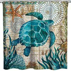 $17.99 Econie Sea Turtle Vintage Beach Shower Curtain | beach shower curtain bathroom | beach shower curtain ideas | #beach Beach Theme Shower Curtain, Fabric Shower Curtains, Warm Blankets, Beach Themes, Cushion Covers, Vintage, Sea Theme Bathroom, Ocean Bathroom, Couch Sofa