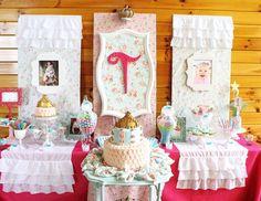 "Princess / Birthday ""Shabby Chic Baby Princess 1st Birthday Party"" | Catch My Party"