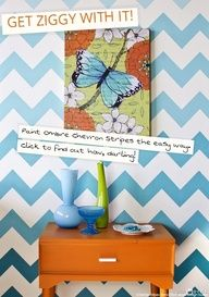 Stencil perfect Chevron stripes in an ombre paint finish. Tutorial and great tips!