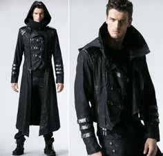 Manteau veste gothique steampunk transformable 2 en 1 capuche amovible homme Steampunk Assassin, Mode Steampunk, Style Steampunk, Witch Fashion, Punk Fashion, Punk Outfits, Cool Outfits, Bloodborne Cosplay, Mode Cyberpunk