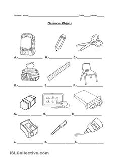 school objects matching b w worksheets kola pinterest worksheets school and english. Black Bedroom Furniture Sets. Home Design Ideas