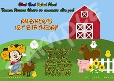 Hey, I found this really awesome Etsy listing at http://www.etsy.com/listing/164722964/farmer-mickey-mouse-birthday-invitation
