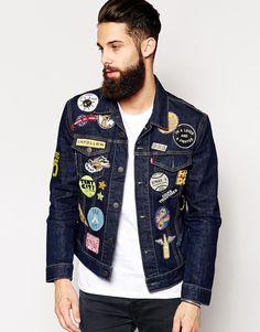 Buy Levis Denim Jacket Slim Fit Trucker Black Multi Patch at ASOS. Get the latest trends with ASOS now. Levis Jean Jacket, Denim Jacket Patches, Denim Jacket Men, Patched Jeans, Vest Jacket, Denim Fashion, Trendy Fashion, Urban Fashion, Moda Rock