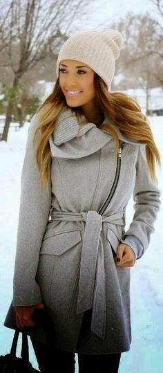 ombre grey winter coat