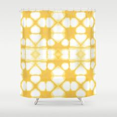 Shibori Ahi Yellow Shower Curtain by ninamay | Society6
