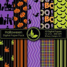 Gratis 10 Digital Scrapbooking Papeles de Halloween