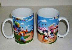 TWO 2 Disney Mug Cups Goofy Donald Duck Mickey & Minnie Mouse 10 oz NEW #Disney