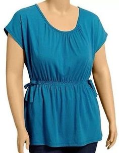 New Old Navy Teal Scoop Neck Elastic Waist Side Bow Dolman Sleeve Top 2x