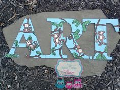 Hand Drawn And Hand Painted Wood letters ART in Monkey/jungle theme  Www.facebook.com/andbabymakesthreee