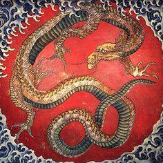 Dragon by Katsushika Hokusai. Ukiyo-e. mythological painting