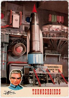 Gerry Anderson (1929 - 2012) Thunderbirds, Jeff Tracy. Dutch postcard by Vita Nova, Schiedam, no. B/10/41. Photo: A.P. Films, London / Coliseum, London, 1965. Caption: Startplaats Thunderbird 1 met Jeff Tracy (Launch bay Thunderbird 1, with Jeff Tracy).