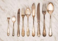 Curious to know whether your favorite antique silverware is actually real sterling-silver? Here's how to tell in just four easy steps. Sterling Silverware, Sterling Silver Flatware, Silver Cutlery, Silver Plate, How To Clean Silverware, Cleaning Silverware, Stainless Steel Alloy, Polish Recipes, Decoration