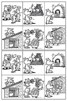 The Three Little Pigs Sequencing activity - cut and paste Sequencing Pictures, Story Sequencing, Teaching Spanish, Teaching English, Preschool Worksheets, Preschool Activities, Fairy Tale Activities, English Activities, Three Little Pigs