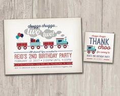 Vintage Style Train Birthday Invitation, Train Birthday Party, Chugga Chugga Two Two Invite with FREE matching favor tags   Digital File