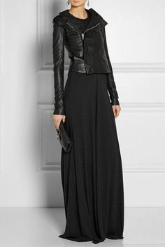 What to wear out tonight ? Try a black asymmetrical zip leather jacket and black maxi dress back to core closet pieces like earrings , a clutch , and heeled sandals : Looks Street Style, Looks Style, Style Me, Black Style, Dark Fashion, Love Fashion, Winter Fashion, Womens Fashion, Style Fashion