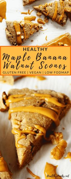 This easy scones recipe for Healthy Maple Banana Walnut Scones is perfect even for beginners! It& practically fool proof and makes a perfect healthy breakfast or delicious nutritious dessert! They& also gluten free, vegan, and low fodmap. Banana Dessert Recipes, Healthy Dessert Recipes, Vegan Snacks, Protein Snacks, High Protein, Healthy Vegan Cookies, Healthy Banana Recipes, Banana Breakfast Recipes, Gluten Free Recipes For Breakfast