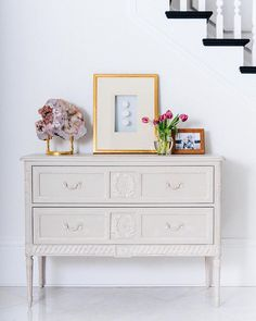 Aria Two Drawer Dresser Laurel Wreath, D 20, Warm Grey, Classic Collection, Dresser Drawers, Bookshelves, Hand Painted, Storage, Inspiration