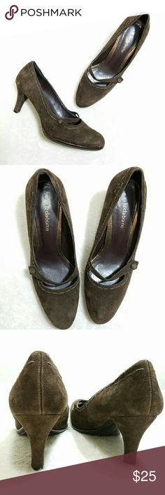 """Liz Claiborne Brown Suede Mary Jane Heels Jocelyn -Excellent used condition- slight scuffing on suede toes and light insole wear -Heel 3.75"""" -Leather upper -Balance Manmade -Size 8M -Soles are in excellent shape -Style Jocelyn -Chocolate Brown Suede with brown stitching (colors' appearance may vary on screen)  Questions? Just ask! Bundle to save!  Offers welcome  Happy Poshing! Liz Claiborne Shoes Heels"""