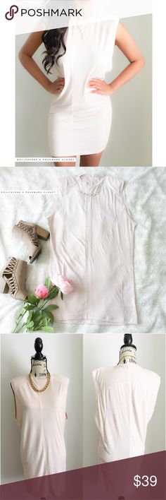 """NWOT UO Silence + Noise Pale Pink 80's Chic Dress ✦   ✦{I am not a professional photographer, actual color of item may vary ➾slightly from pics}  ❥chest:20.5"""" ❥waist:18"""" ❥length:32"""" ❥all approx measurements taken flat in inches  ➳material/care:polyester+6%spandex/machine wash  ➳fit:stretchy w/small shoulder pads & wide sleeves  ➳condition:new w/out tag   ✦20% off bundles of 3/more items ✦No Trades  ✦NO HOLDS ✦No transactions outside Poshmark  ✦No lowball offers/sales are final Urban…"""