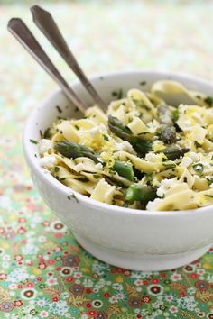 time to learn to eat healthier foods....  Spring Pasta with Asparagus, Feta, Fresh Herbs, and Lemon