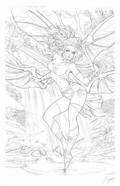 Aspen Splash 2013 Swimsuit Spectacular page 13 Original Comic Art by Nei Ruffino is part of Fairy coloring pages - Fairy Coloring Pages, Printable Adult Coloring Pages, Coloring Pages To Print, Coloring Books, Sexy Drawings, Colorful Drawings, Line Art, Comic Art, Fantasy Art