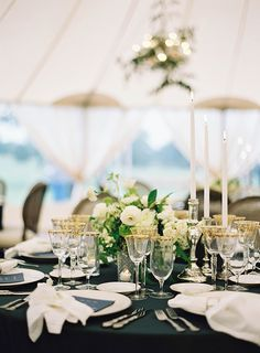 Elegant Laid-Back Ranch Wedding in Texas Photographed by Tec Petaja. Florals and Design by The Nouveau Romantics, Magnolia Garland, Navy Blue Linens Tent Wedding, Wedding Menu, Fall Wedding, Our Wedding, Destination Wedding, Dream Wedding, Magnolia Garland, Wedding Table Settings, Place Settings
