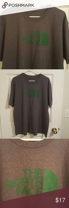 """Mens North Face Grey Teeshirt With Green Logo Like new.  Missing tag but measures as an Xlarge.  46"""" chest, 20"""" shoulder, 29"""" length. The North Face Shirts Tees - Short Sleeve"""