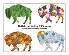 Buffalo City for All Seasons Note Card Set   by SilentMyloStudio