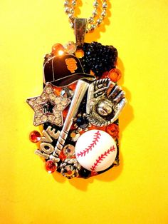 One Of A Kind BRADOS Bling San Francisco Giants Dog Tag Pendant. All pendants are made with Swarovski crystal rhinestones, modern and vintage charms,