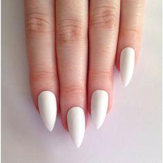 Matte White Stiletto nails, Nail designs, Nail art, Nails, Stiletto... ($19) via Polyvore