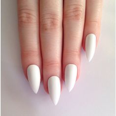 Matte White Stiletto nails, Nail designs, Nail art, Nails, Stiletto... ($19) via Polyvore