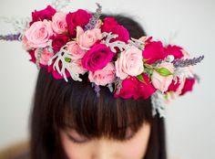 roses and lavender floral crown DIY by Huckleberry Karen Designs