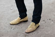 louboutin x marlon gobel gold spiked loafer