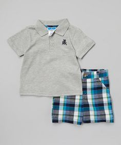 Look at this #zulilyfind! Gray & Blue Plaid Polo & Shorts - Infant & Toddler by Weeplay Kids #zulilyfinds