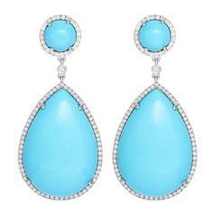 Amazing Turquoise Diamond Teardrop Dangle Earrings.