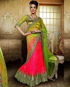 Pink and green lehenga with embroidered border   1. Pink and green net embroidered lehenga2. Comes with unstitched blouse material and dupatta