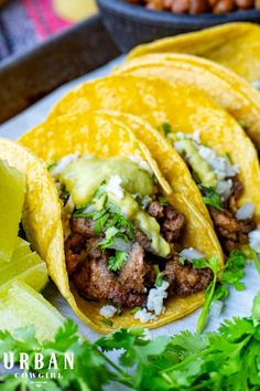 These steak street tacos can be whipped up in 30 minutes or less and are an easy way to whip up beef tacos for your next party, the big game, or a potluck! Get the recipe now on UrbanCowgirlLife.com Tailgating Recipes, Barbecue Recipes, Grilling Recipes, Meat Recipes, Mexican Side Dishes, Mexican Dessert Recipes, Street Tacos, How To Cook Steak, Big Game